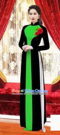 Traditional Top Grade Asian Vietnamese Costumes Classical Wedding Bride Toast Cheongsam, Vietnam National Princess Matching Black Printing  Ao Dai Dress for Women