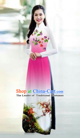 Traditional Top Grade Asian Vietnamese Costumes Classical Printing Bride Toast Cheongsam, Vietnam National Princess Pink Ao Dai Dress for Women