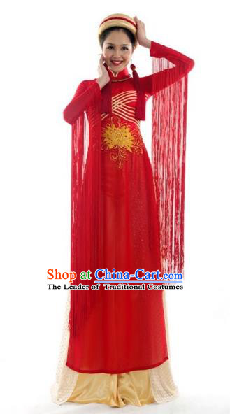 Traditional Top Grade Asian Vietnamese Costumes Classical Bride Wedding Toast Cheongsam, Vietnam National Red Ao Dai Dress for Women