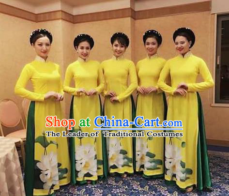 Traditional Top Grade Asian Vietnamese Costumes Classical Bridesmaid Wedding Cheongsam, Vietnam National Yellow Printing Ao Dai Dress for Women