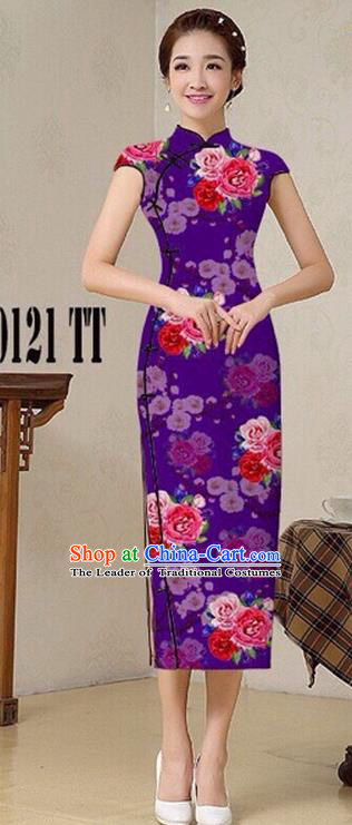 Traditional Top Grade Chinese Costumes Classical Catwalks Printing Princess Cheongsam, China National Purple Chi-pao Dress for Women