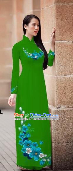Traditional Top Grade Asian Vietnamese Costumes Classical Princess Printing Flowers Cheongsam, Vietnam National Ao Dai Dress Green Full Dress for Women