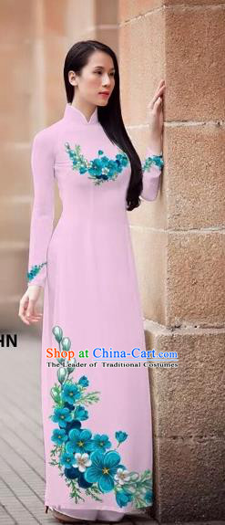 Traditional Top Grade Asian Vietnamese Costumes Classical Princess Printing Flowers Cheongsam, Vietnam National Ao Dai Dress Pink Full Dress for Women