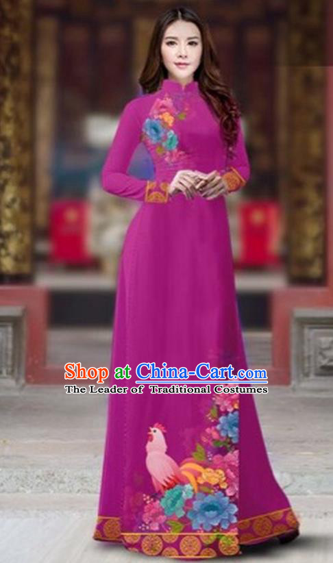 Traditional Top Grade Asian Vietnamese Costumes Classical Rooster Year Cheongsam, Vietnam National Ao Dai Dress Princess Rosy Full Dress for Women
