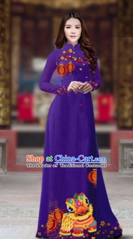 Traditional Top Grade Asian Vietnamese Costumes Classical Printing New Year Cheongsam, Vietnam National Ao Dai Dress Princess Deep Purple Full Dress for Women