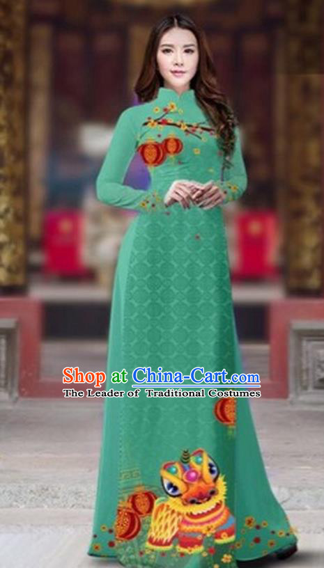 Traditional Top Grade Asian Vietnamese Costumes Classical Printing New Year Cheongsam, Vietnam National Ao Dai Dress Princess Green Full Dress for Women