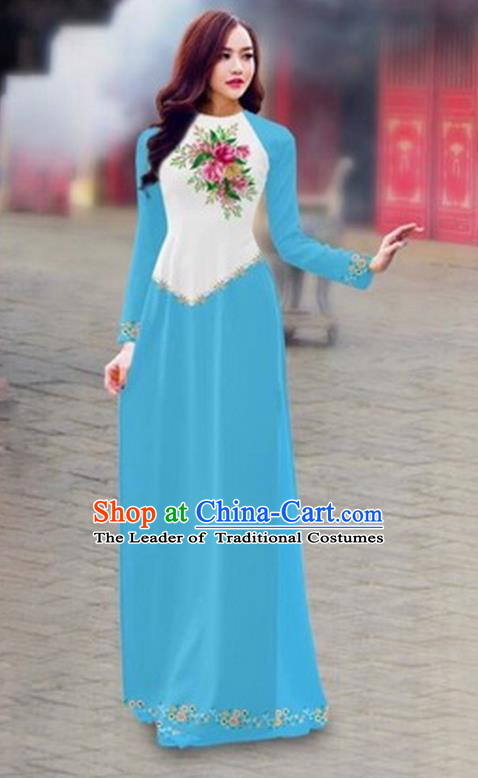 Traditional Top Grade Asian Vietnamese Costumes Classical Color Matching Cheongsam, Vietnam National Ao Dai Dress Printing Blue Full Dress for Women
