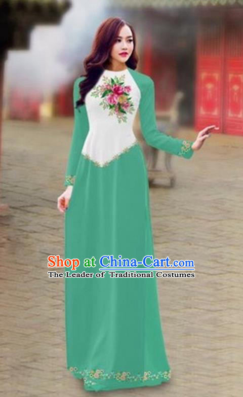 Traditional Top Grade Asian Vietnamese Costumes Classical Color Matching Cheongsam, Vietnam National Ao Dai Dress Printing Light Green Full Dress for Women