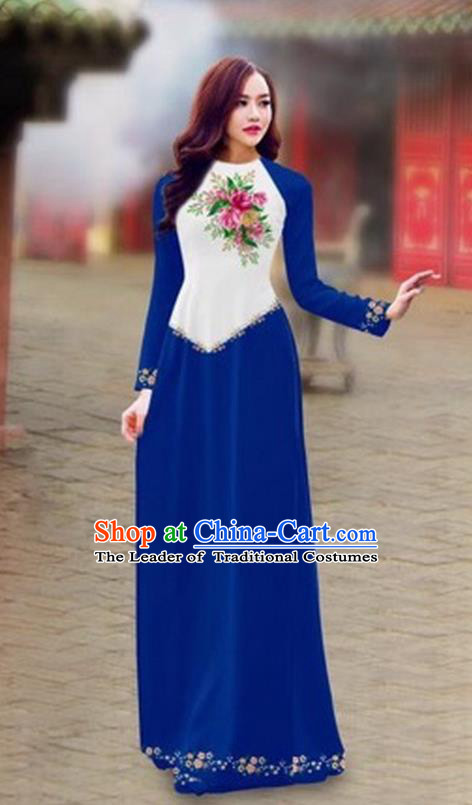 Traditional Top Grade Asian Vietnamese Costumes Classical Color Matching Cheongsam, Vietnam National Ao Dai Dress Printing Royalblue Full Dress for Women