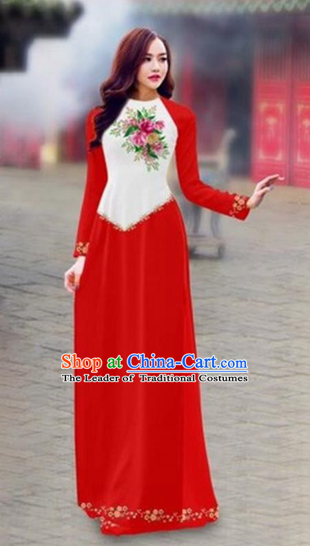 Traditional Top Grade Asian Vietnamese Costumes Classical Color Matching Cheongsam, Vietnam National Ao Dai Dress Printing Red Full Dress for Women