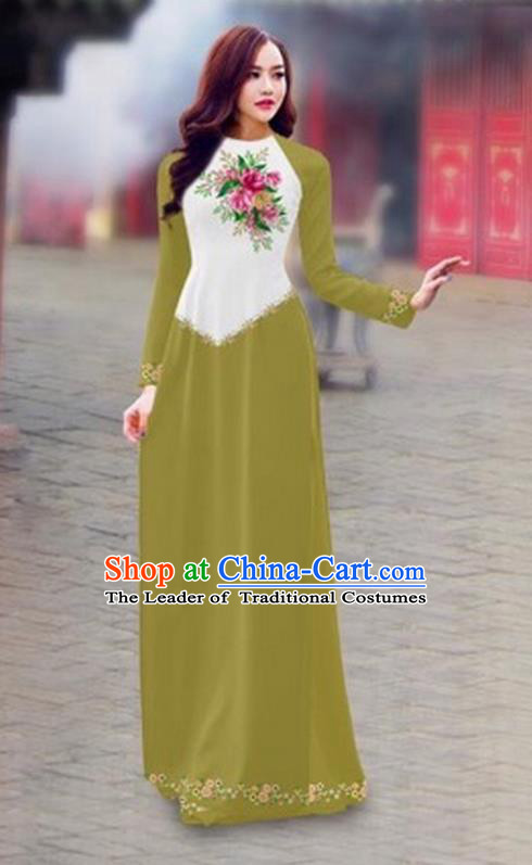 Traditional Top Grade Asian Vietnamese Costumes Classical Color Matching Cheongsam, Vietnam National Ao Dai Dress Printing Grass Green Full Dress for Women