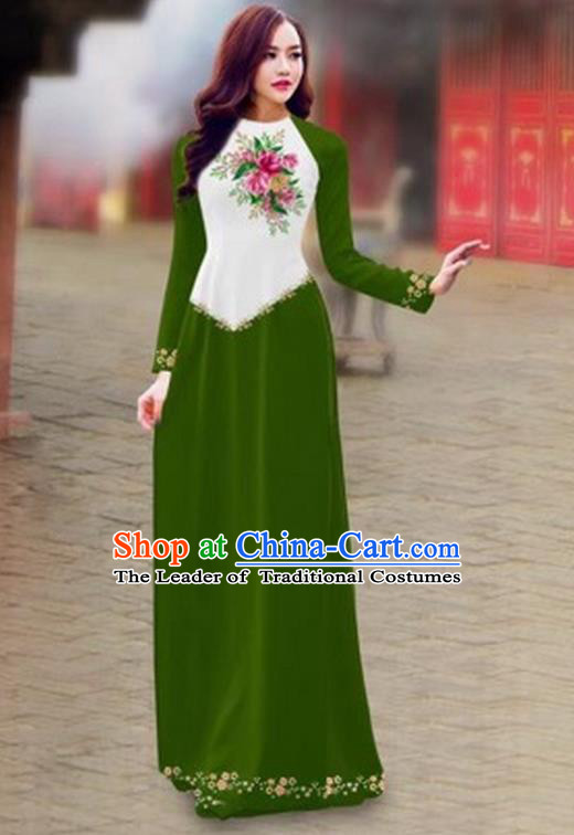 Traditional Top Grade Asian Vietnamese Costumes Classical Color Matching Cheongsam, Vietnam National Ao Dai Dress Printing Green Full Dress for Women