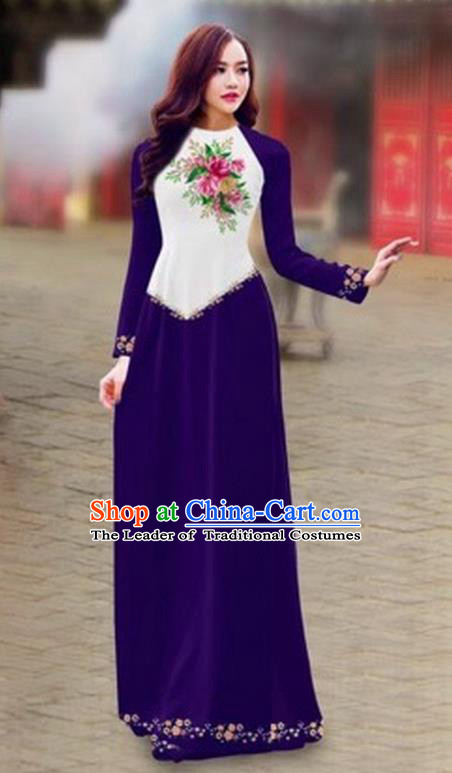 Traditional Top Grade Asian Vietnamese Costumes Classical Color Matching Cheongsam, Vietnam National Ao Dai Dress Printing Purple Full Dress for Women