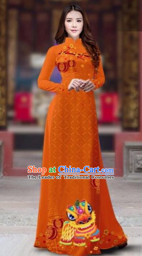 Traditional Top Grade Asian Vietnamese Costumes Classical Printing New Year Cheongsam, Vietnam National Ao Dai Dress Princess Orange Full Dress for Women
