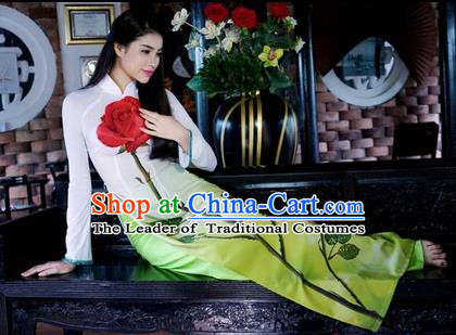 Traditional Top Grade Asian Vietnamese Costumes Classical Printing Rose Cheongsam, Vietnam National Ao Dai Dress Full Dress for Women