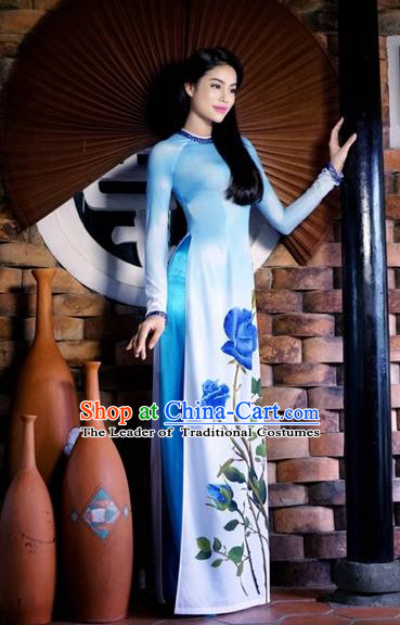 Traditional Top Grade Asian Vietnamese Costumes Classical Printing Blue Rose Cheongsam, Vietnam National Ao Dai Dress Full Dress for Women