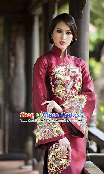 Traditional Top Grade Asian Vietnamese Costumes Classical Hand Embroidery Cheongsam, Vietnam National Ao Dai Dress Wedding Bride Full Dress for Women