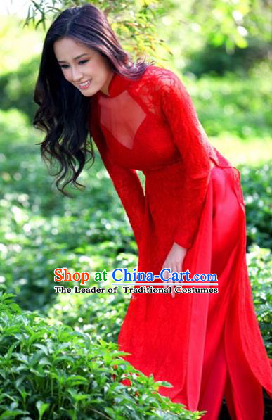 Traditional Top Grade Asian Vietnamese Costumes Classical Red Lace Cheongsam, Vietnam National Ao Dai Dress Wedding Bride Full Dress for Women