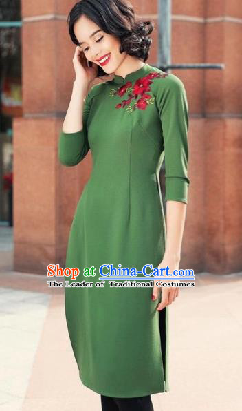 Traditional Top Grade Asian Vietnamese Costumes Classical Short Cheongsam, Vietnam National Ao Dai Dress Wedding Bride Green Full Dress for Women