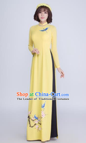 Traditional Top Grade Asian Vietnamese Costumes Classical Printing Crane Cheongsam, Vietnam National Ao Dai Dress Yellow Full Dress for Women