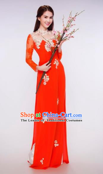 Traditional Top Grade Asian Vietnamese Costumes Classical Bride Wedding Cheongsam, Vietnam National Red Ao Dai Dress for Women