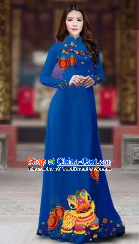 Traditional Top Grade Asian Vietnamese Costumes Classical Printing New Year Cheongsam, Vietnam National Ao Dai Dress Princess Royalblue Full Dress for Women