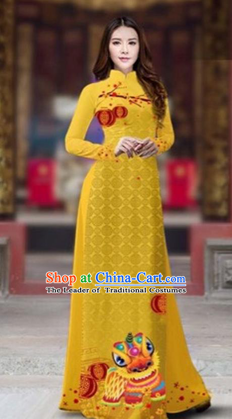 Traditional Top Grade Asian Vietnamese Costumes Classical Printing New Year Cheongsam, Vietnam National Ao Dai Dress Princess Ginger Full Dress for Women