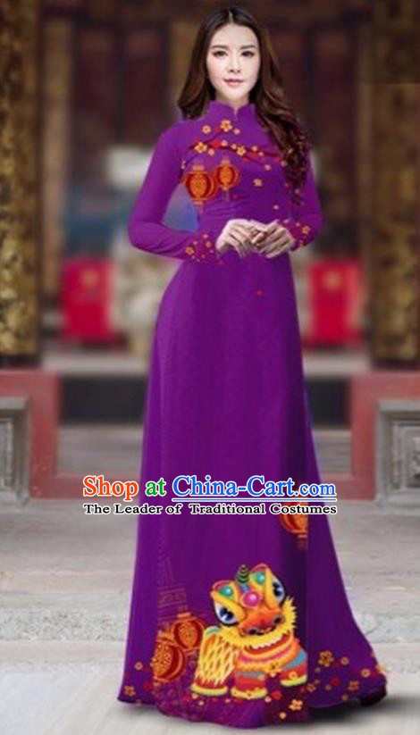 Traditional Top Grade Asian Vietnamese Costumes Classical Printing New Year Cheongsam, Vietnam National Ao Dai Dress Princess Amaranth Full Dress for Women