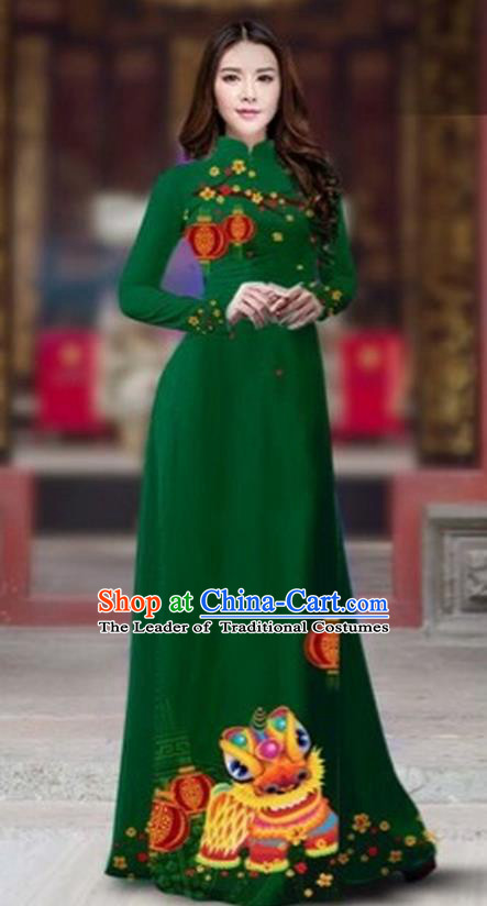 Traditional Top Grade Asian Vietnamese Costumes Classical Printing New Year Cheongsam, Vietnam National Ao Dai Dress Princess Deep Green Full Dress for Women