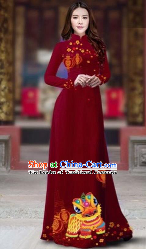 Traditional Top Grade Asian Vietnamese Costumes Classical Printing New Year Cheongsam, Vietnam National Ao Dai Dress Princess Wine Red Full Dress for Women