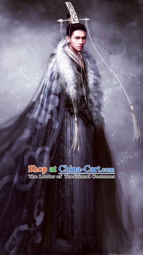 Traditional Chinese Ancient Shang Dynasty Palace Prince Costume, China Mythology Television Zhao Ge Ancient Infante Swordsman Embroidery Clothing and Headwear Complete Set