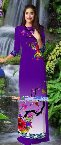 Traditional Top Grade Asian Vietnamese Costumes Classical Purple Cheongsam, Vietnam National Printing Ao Dai Dress for Women