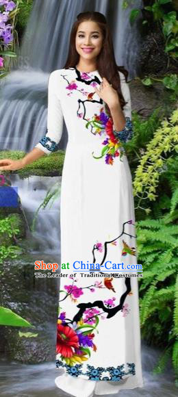 Traditional Top Grade Asian Vietnamese Costumes Classical White Cheongsam, Vietnam National Printing Ao Dai Dress for Women
