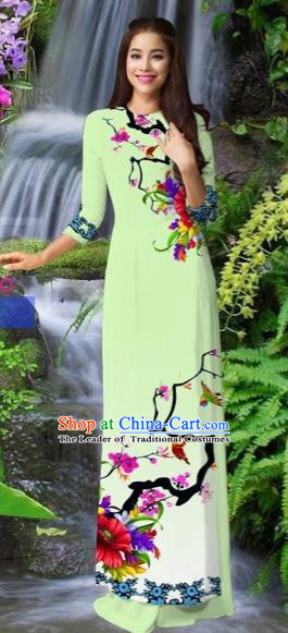 Traditional Top Grade Asian Vietnamese Costumes Classical Light Green Cheongsam, Vietnam National Printing Ao Dai Dress for Women