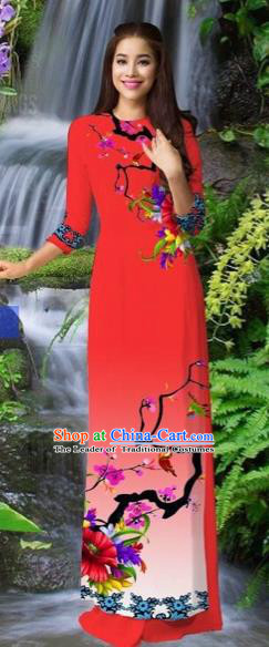 Traditional Top Grade Asian Vietnamese Costumes Classical Red Cheongsam, Vietnam National Printing Ao Dai Dress for Women