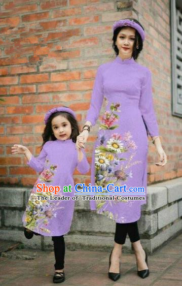 Traditional Top Grade Asian Vietnamese Costumes Classical Printing Daisy Flowers Purple Cheongsam, Vietnam National Mother-daughter Ao Dai Dress for Women for Kids
