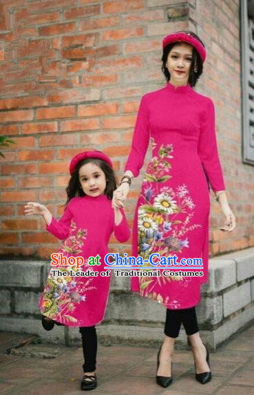 Traditional Top Grade Asian Vietnamese Costumes Classical Printing Daisy Flowers Rosy Cheongsam, Vietnam National Mother-daughter Ao Dai Dress for Women for Kids