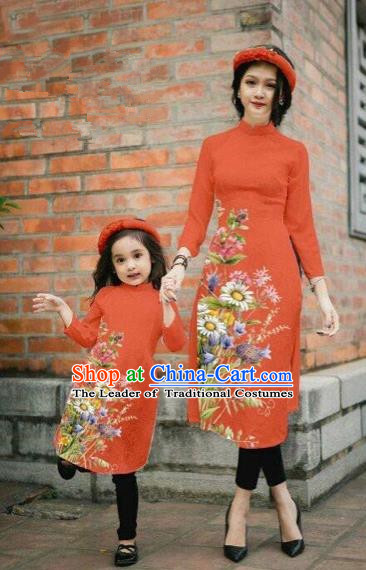 Traditional Top Grade Asian Vietnamese Costumes Classical Printing Daisy Flowers Orange Cheongsam, Vietnam National Mother-daughter Ao Dai Dress for Women for Kids