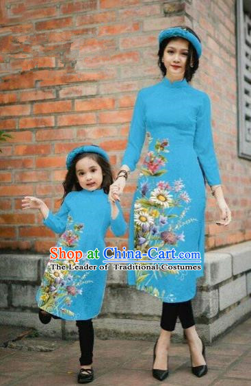 Traditional Top Grade Asian Vietnamese Costumes Classical Printing Daisy Flowers Blue Cheongsam, Vietnam National Mother-daughter Ao Dai Dress for Women for Kids