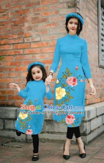 Traditional Top Grade Asian Vietnamese Costumes Classical Printing China Rose Flowers Blue Cheongsam, Vietnam National Mother-daughter Ao Dai Dress for Women for Kids