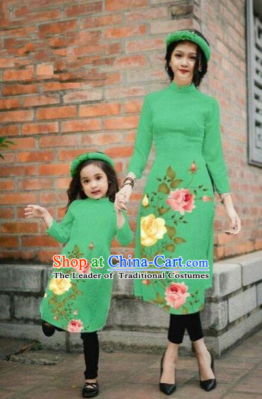 Traditional Top Grade Asian Vietnamese Costumes Classical Printing China Rose Flowers Green Cheongsam, Vietnam National Mother-daughter Ao Dai Dress for Women for Kids
