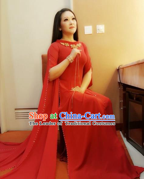 Traditional Top Grade Asian Vietnamese Costumes Classical Red Cheongsam, Vietnam National Bride Ao Dai Dress for Women