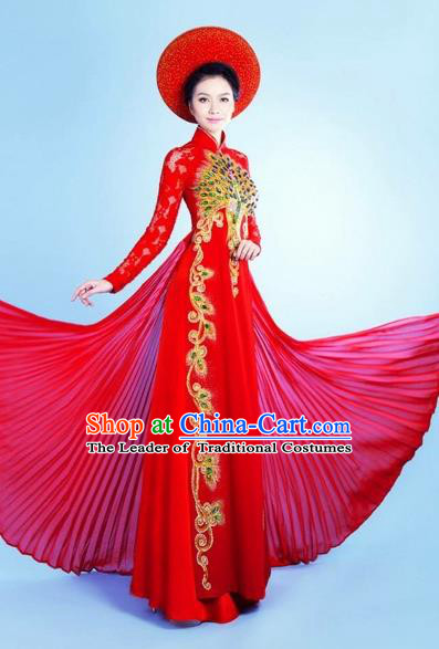 Traditional Top Grade Asian Vietnamese Costumes Classical Queen Red Cheongsam, Vietnam National Bride Pleuche Ao Dai Dress for Women