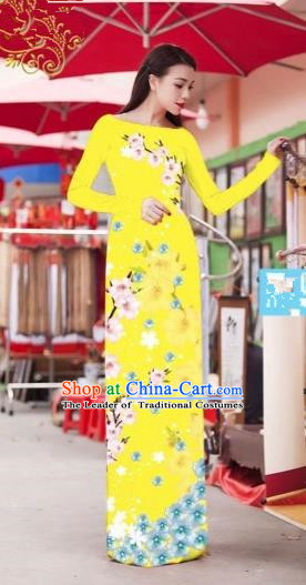 Traditional Top Grade Asian Vietnamese Costumes Classical Princess Printing Cheongsam, Vietnam National Bride Yellow Ao Dai Dress for Women