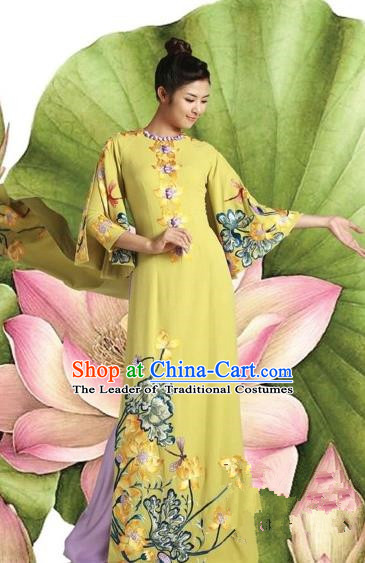 Traditional Top Grade Asian Vietnamese Costumes Classical Princess Printing Cheongsam, Vietnam National Bride Ao Dai Dress for Women