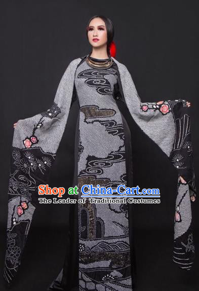 Traditional Top Grade Asian Vietnamese Costumes Classical Princess Printing Cheongsam, Vietnam National Bride Deep Grey Ao Dai Dress for Women