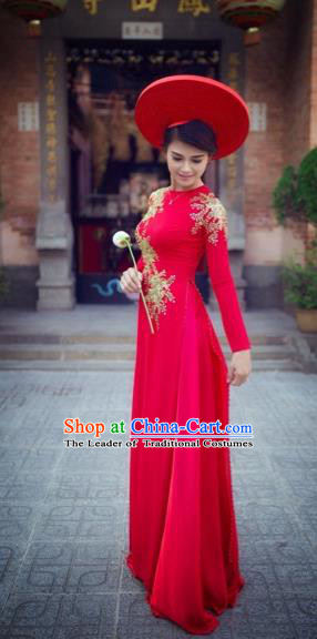 Traditional Top Grade Asian Vietnamese Costumes Classical Princess Red Cheongsam, Vietnam National Bride Wedding Ao Dai Dress for Women