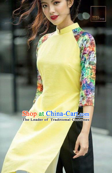 Traditional Top Grade Asian Vietnamese Costumes Classical Printing Yellow Short Cheongsam, Vietnam National Vietnamese Bride Ao Dai Dress for Women