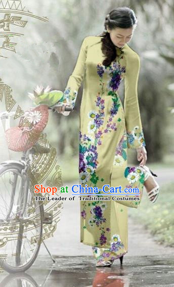 Traditional Top Grade Asian Vietnamese Costumes Classical Printing Green Cheongsam, Vietnam National Vietnamese Bride Ao Dai Dress for Women