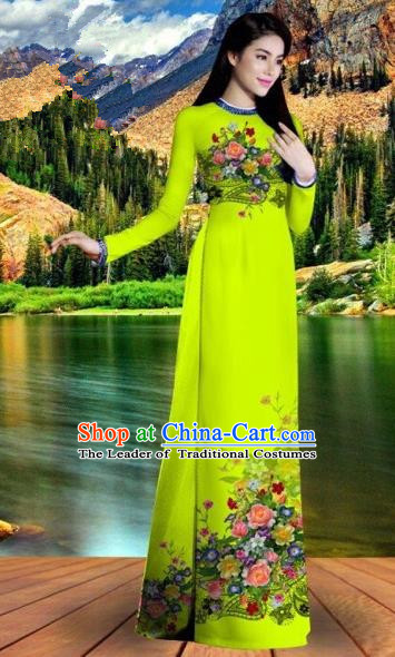 Traditional Top Grade Asian Vietnamese Costumes Classical Printing Bright Green Cheongsam, Vietnam National Vietnamese Bride Ao Dai Dress for Women